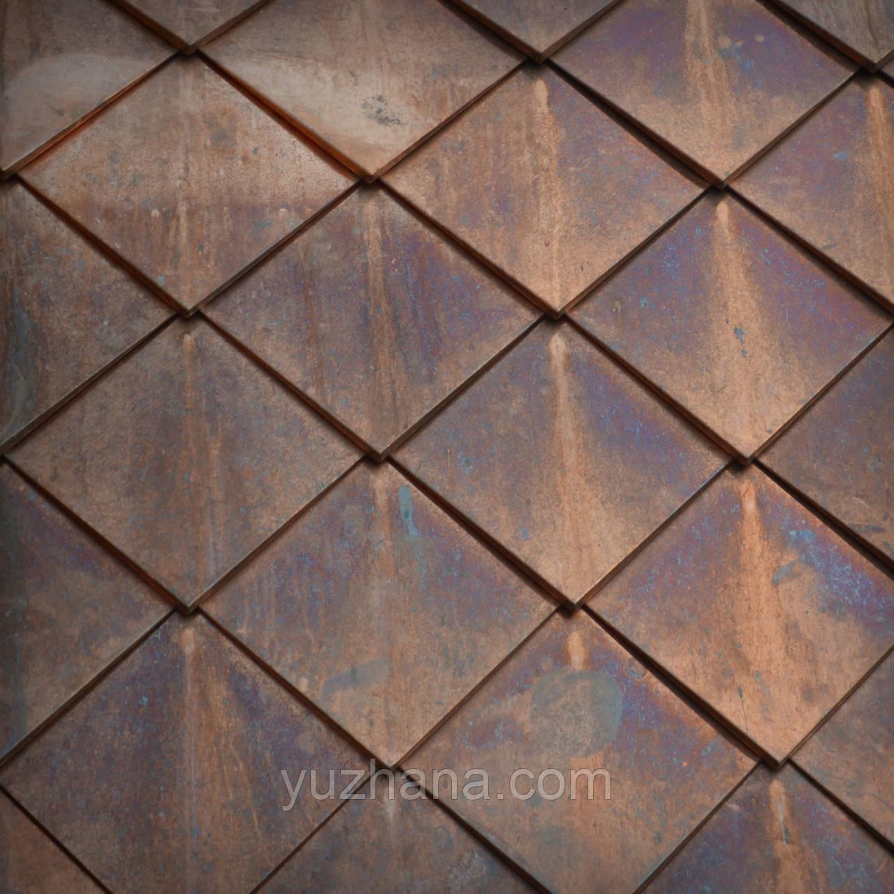 Объёмная шашка из меди Медные ромбы Монтаж шашки медной Влаштування  даху з об'емних ромбів з міді