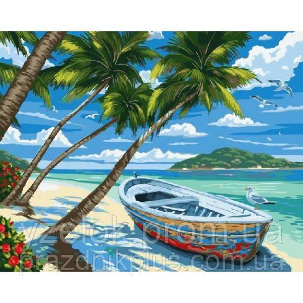 """Набор алмазной вышивки  """"Пляж с пальмами"""""""