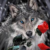 """Набор алмазной вышивки  """"Волк с розой"""""""