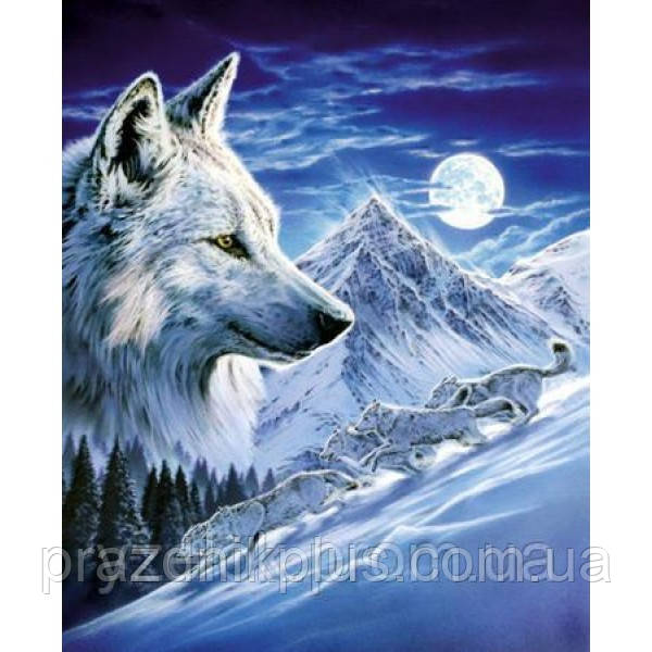 """Набор алмазной вышивки  """"Волки в полнолуние"""""""