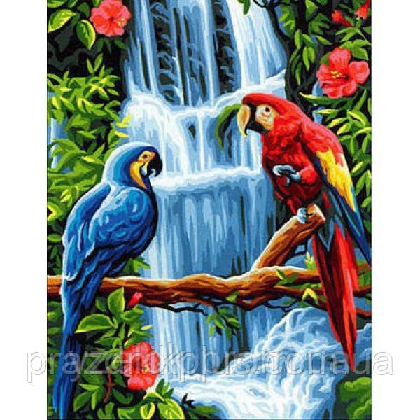 "Набор алмазной вышивки  ""Попугаи у водопада"""