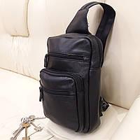 Однолямочный кожаный мужской рюкзак мини