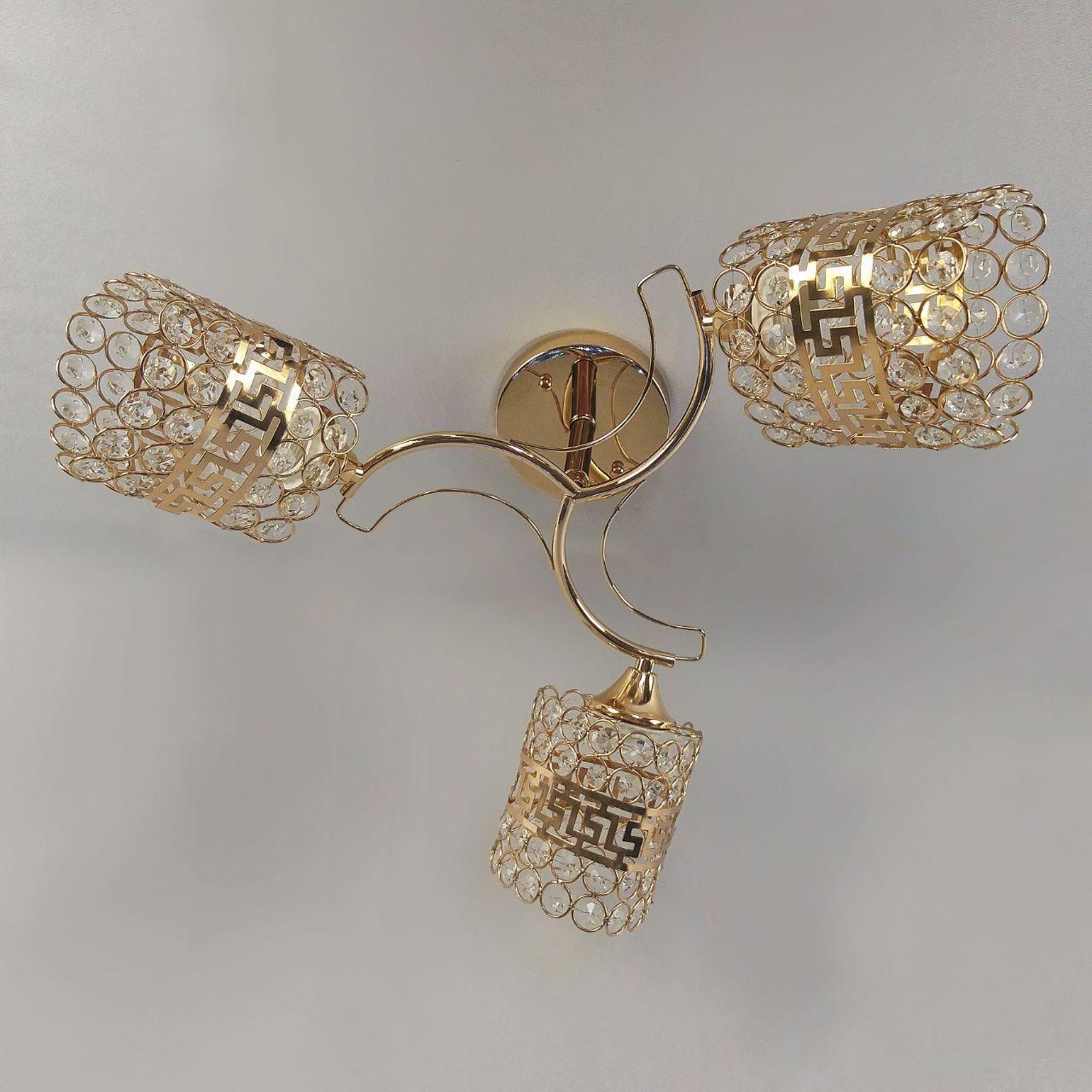 Люстра потолочная на две лампы в золоте с греческим узором 3-N3267/3