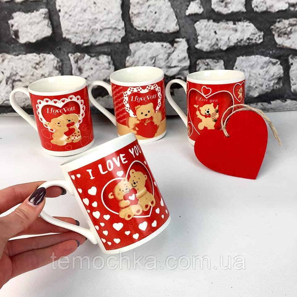 Чашка керамічна романтична на подарунок коханій коханому з ведмедиками I love you
