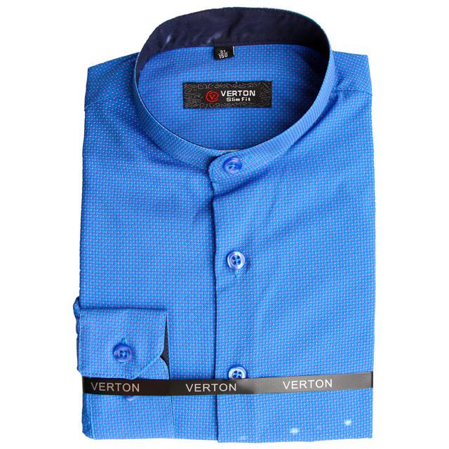 синя сорочка для хлопчика комір стійка