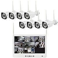 """Комплект видеонаблюдения беспроводной Full HD CAD-1308 LCD 13.3"""" WiFi 8 камер (квадратные) (5521)"""
