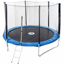 Батут Atleto 374 см для детей с защитной сеткой, садовий для дома, Спортивные батуты детские