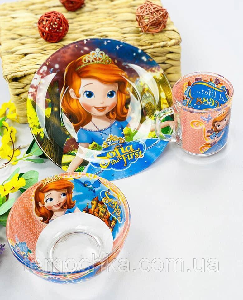 Набір дитячого посуду тарілка чашка для дітей Софія Прекрасна