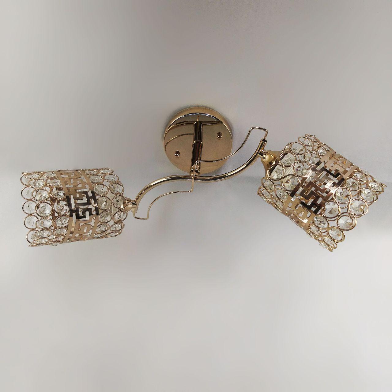 Люстра потолочная на две лампы в золоте с греческим узором 3-N3267/2