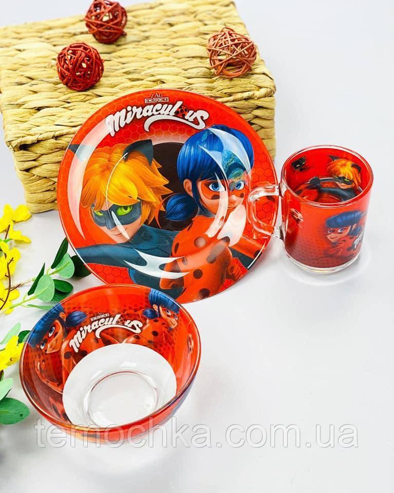 Набор детской посуды тарелка для детей Miraculous Ladybug Леди Баг