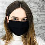Багаторазова захисна маска для обличчя чорна лінивці, фото 5