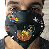 Багаторазова захисна маска для обличчя чорна лінивці, фото 2