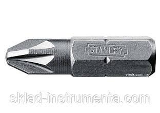 """Насадка викруткова STANLEY 1/4"""" хрестова PZ2 х 25 мм 25 шт"""