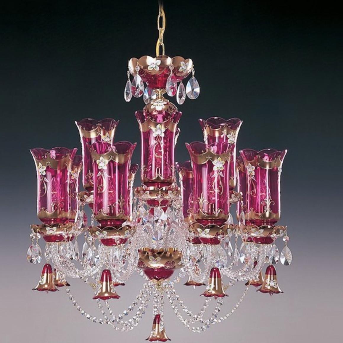 Еlite Bohemia  розовая хрустальная люстра