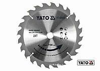 Диск пиляльний по дереву YATO 190 х 20 x 2.2 x 1.5 мм 24 зубці R.P.M до 7100 1/хв, фото 1