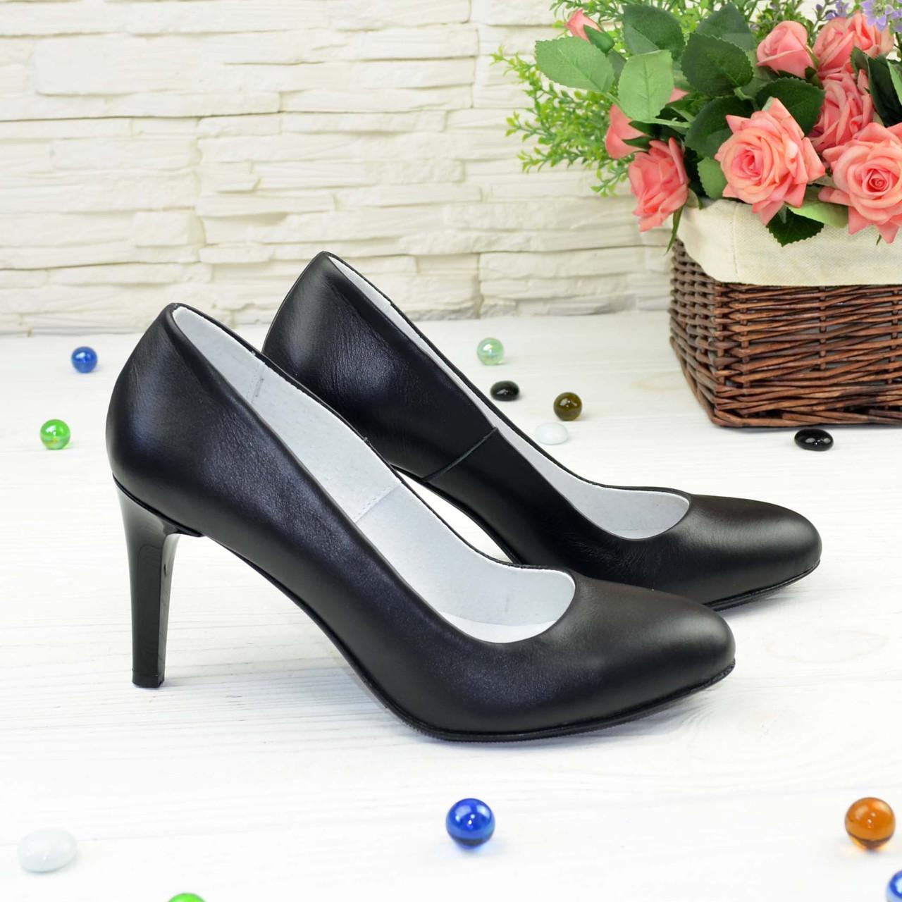Туфли женские кожаные классические на шпильке, цвет черный