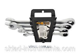 Набір ключів ріжково-накидних з тріщаткою VOREL М10-19 мм 4 шт