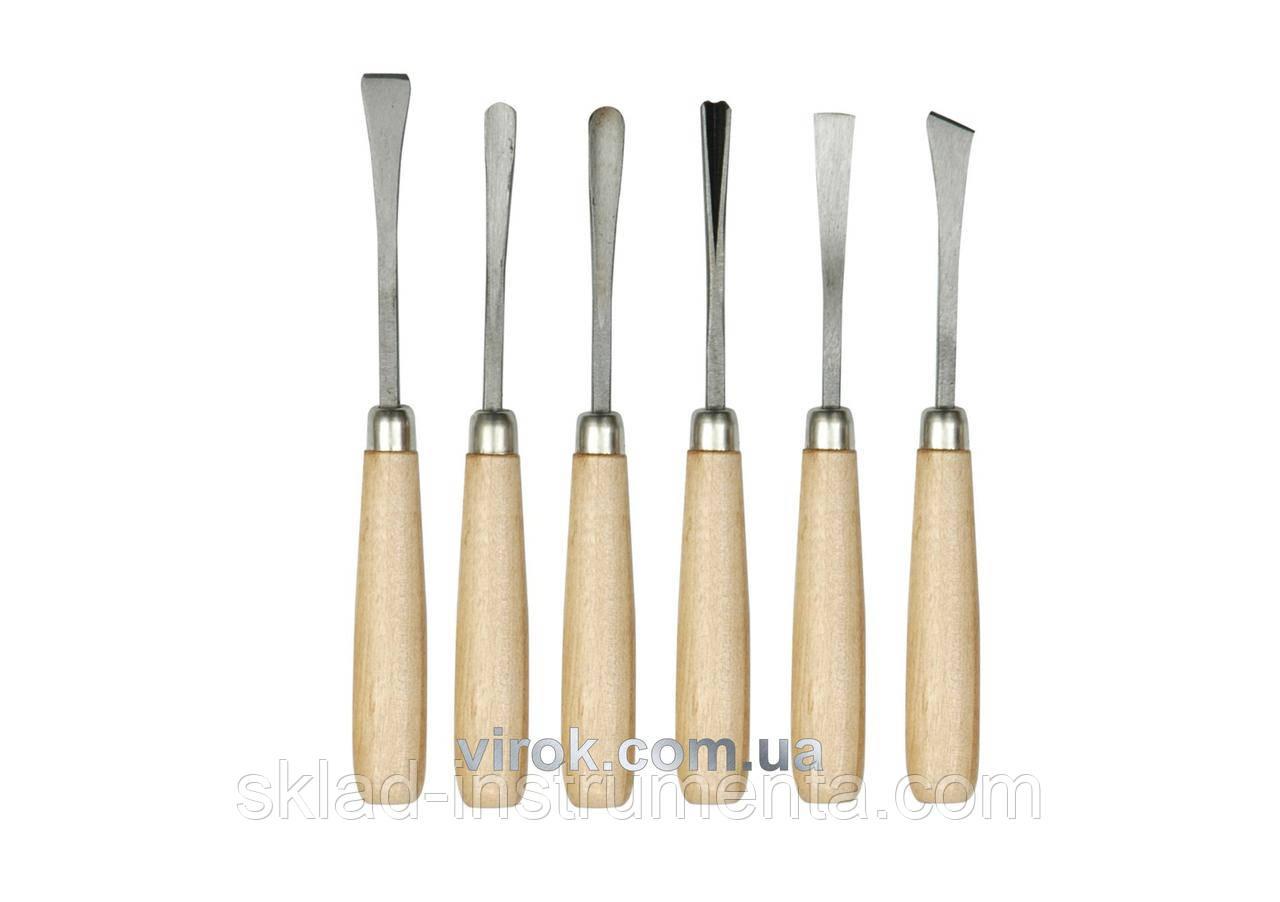 Набір стамесок фігурних VOREL з дерев'яною ручкою 6 шт