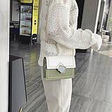 Женская классическая сумочка кросс-боди через плечо на цепочке зеленая оливковая хаки, фото 5