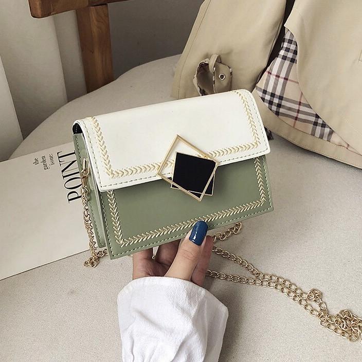 Женская классическая сумочка кросс-боди через плечо на цепочке зеленая оливковая хаки