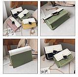 Женская классическая сумочка кросс-боди через плечо на цепочке зеленая оливковая хаки, фото 10