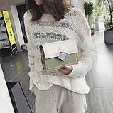 Женская классическая сумочка кросс-боди через плечо на цепочке зеленая оливковая хаки, фото 6