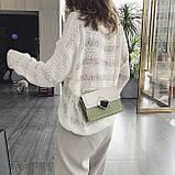 Женская классическая сумочка кросс-боди через плечо на цепочке зеленая оливковая хаки, фото 7