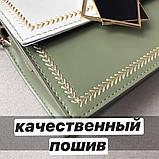 Женская классическая сумочка кросс-боди через плечо на цепочке зеленая оливковая хаки, фото 3