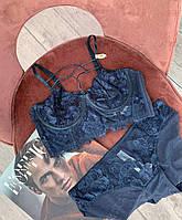 Сексуальный кружевной комплект нижнего белья , бюст без поролона, на косточках, размер 80В синий цвет