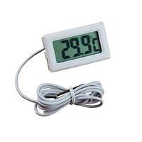 Термометр цифровий TL8009 з виносним датчиком 1м (два елемента LR44, 1,5 V) (ТРМ-10) (білий, чорний)
