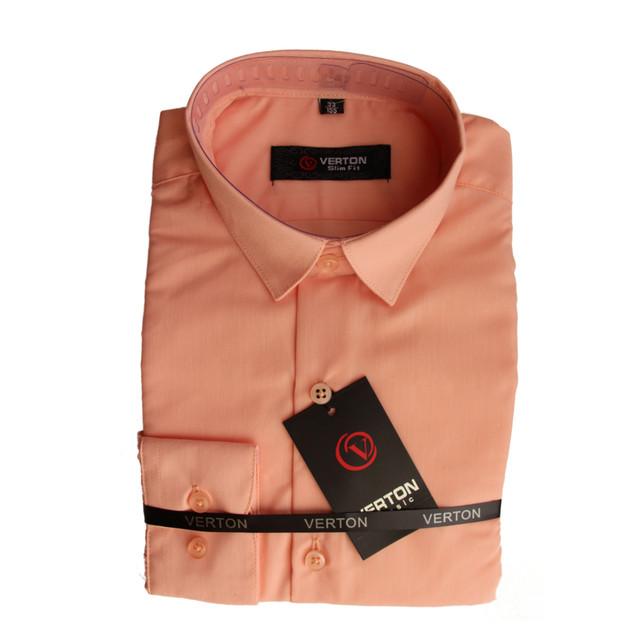 школьная однотонная рубашка для мальчика с длинным рукавом