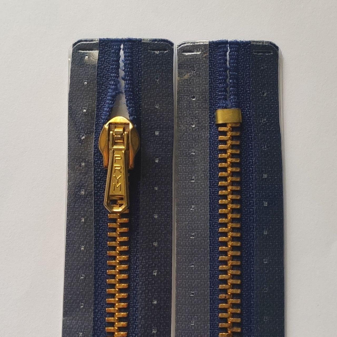Металеві блискавки М3 PRYM 16, 18, 20 см нероз'ємні з механічним фіксатором, синій і блакитний