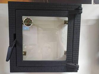 Дверца для духовки в печи, со стеклом 400х400 мм, чугунная печная дверка с термометром 102801