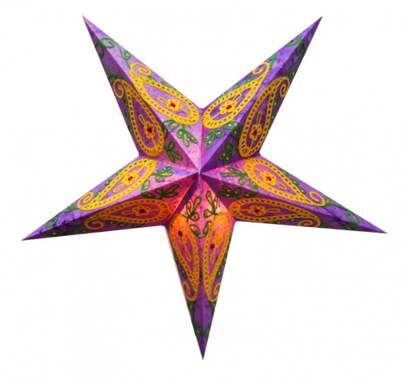 9050112 Светильник Звезда картонная 5 лучей PURPLE WOOL EMBD.