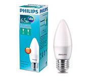 6.5W E27 4000K Свеча Светодиодная лампа  Philips LED