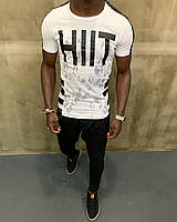 """Крутая мужская хлопковая футболка """"Hiit"""" белая с черным - размер L"""