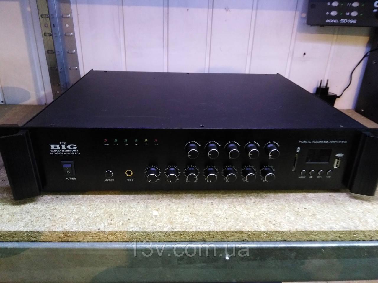 Підсилювачь BIG PADIG80 5zoneUSB/MP3/FM/BT 100v