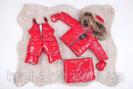 Зимний детский теплый комбинезон-трансформер 3в1: курточка, конверт для ног, полукомбинезон /  0-2 года, енот