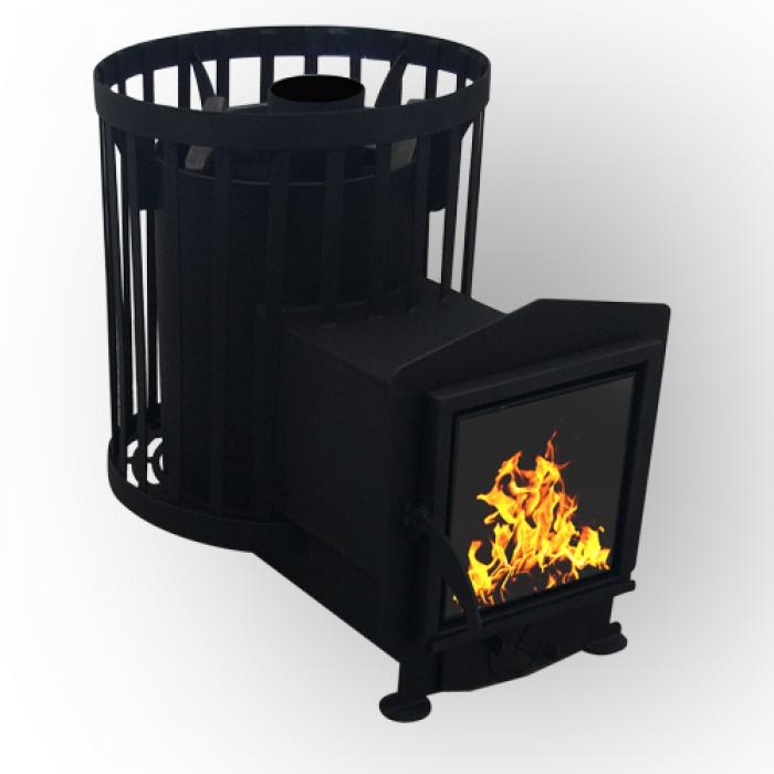 Дровяная печь для бани и сауны Canada Бочка 15 кубов с выносом и стеклом загрузка камней до 150 кг