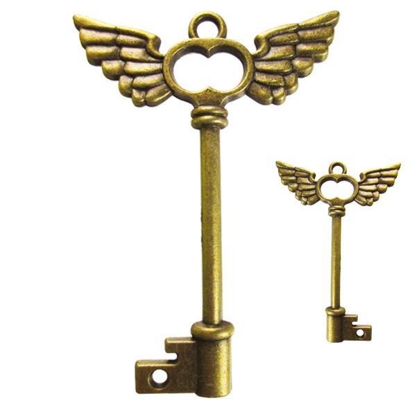 Подвеска Кулон Ключ Большой c Крыльями Металл, Цвет Бронза, 58*41*4 мм, Ушко 4 мм. Рукоделие, Фурнитура