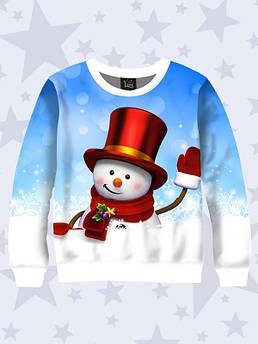 Свитшот детский Снеговик в шляпе