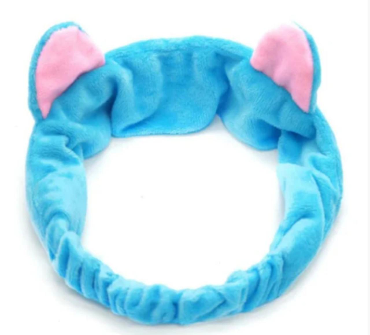 Модная повязка на голову Ушки Кошечки голубая