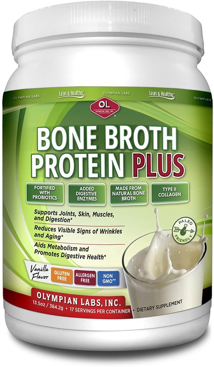 Olympian Labs Bone Broth Protein Plus Vanilla 20 гр белка из куриных косточек, энзимы , пробиотики 384г 17 пор