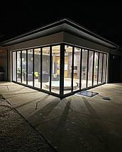 Теплые алюминиевые двери гармошка, фото 3