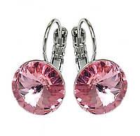 Серьги фирмы ХР, родий.Камни:Swarovski,цвет: розовый. Диаметр серьги: 10 мм. Высота: 1,9 см.