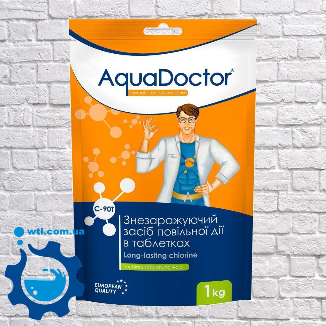 Повільний (тривалий) хлор для басейну Aquadoctor C-90T 1 кг у великих таблетках по 200 г