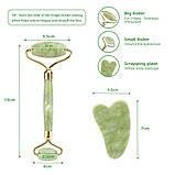 Набор нефритовый роллер для лица и скребок Гуаша Jade Roller, фото 4