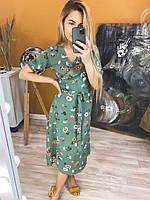 Платье женское стильное летнее зелёный, желтый, белый 42-46,46-48