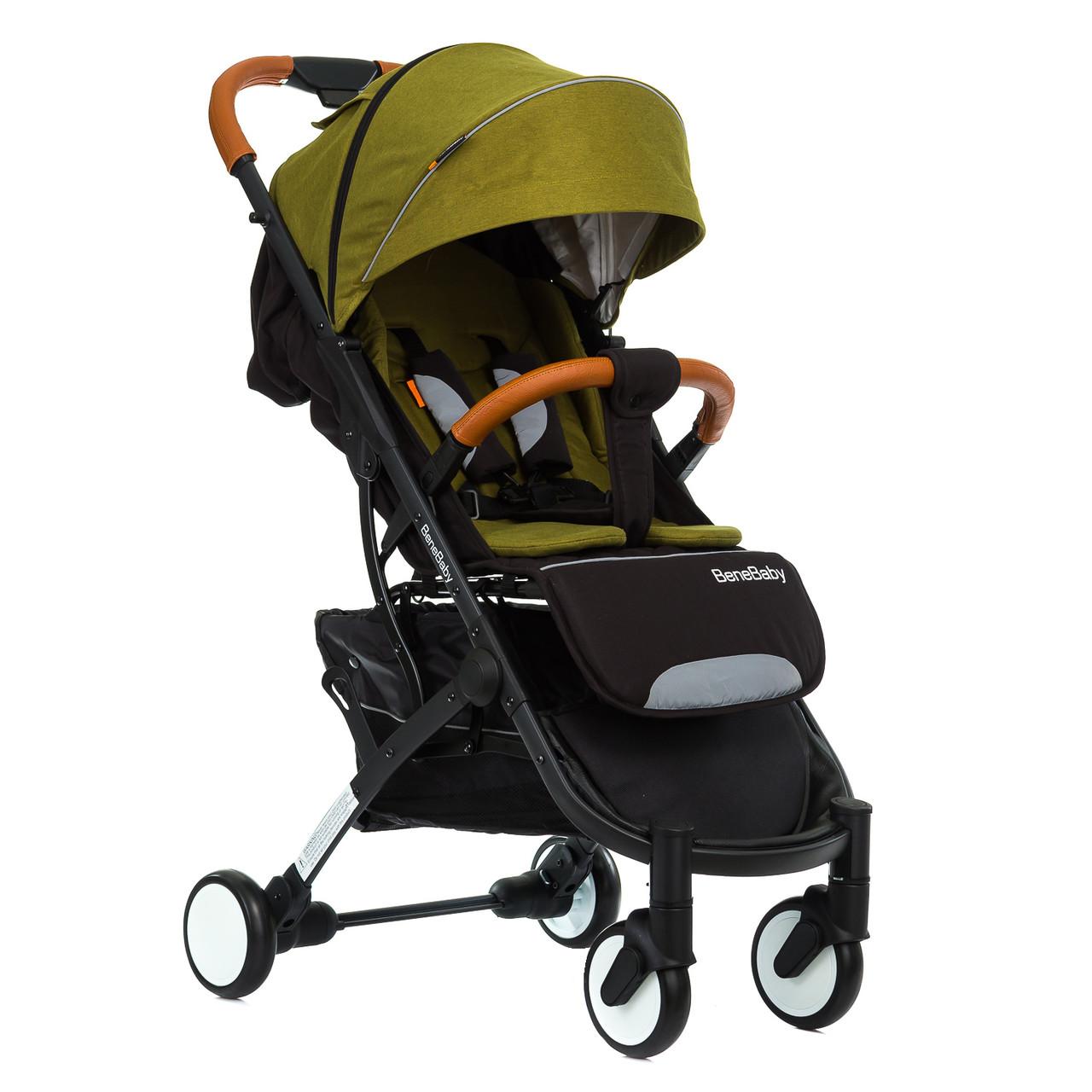 Коляска прогулочная Bene Baby D200 зелёная на чёрной раме