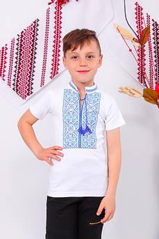 Вышиванка для мальчика с коротким рукавом Олесь с синей вышивкой Размер 122 - 134 см